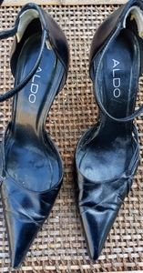 Aldo Black Leather Heels With ankle strap